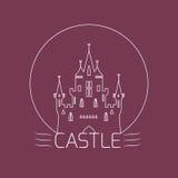 Castillo fino del esquema Plantilla del logotipo en estilo linear Imagen de archivo libre de regalías