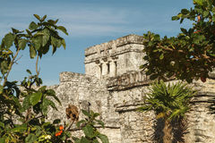 Castillo fortress in the ancient Mayan city of Tulum Royalty Free Stock Image