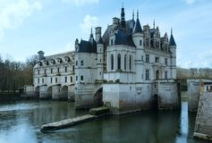 Castillo francés Chenonceau o castillo de las señoras (Francia) Imagen de archivo libre de regalías