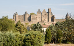 Castillo francés Comtal Carcasona fotos de archivo
