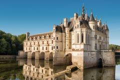Castillo francés de Chenonceau, construido sobre el río de Cher, el valle del Loira, franco fotografía de archivo