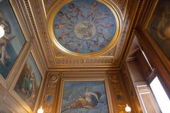 Castillo francés de Fontainebleau, Francia, detalles de los interiores Imágenes de archivo libres de regalías