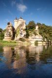 Castillo francés de Sergeac y del río Foto de archivo libre de regalías