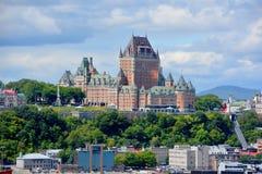 Castillo francés Frontenac de viejo Quebec Imagenes de archivo