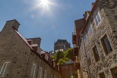 Castillo francés Frontenac y ciudad vieja Imagen de archivo libre de regalías