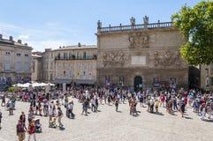 Castillo Front Square del DES Papes de Palais en Aviñón Fotografía de archivo libre de regalías