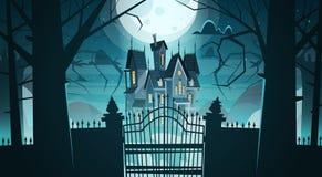 Castillo gótico detrás de las puertas en el edificio asustadizo del claro de luna stock de ilustración