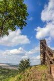 Castillo hermoso de Wartburg y cielo nublado en Eisenach, Alemania detalles Foto de archivo