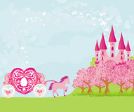 Castillo hermoso del rosa del cuento de hadas Fotos de archivo