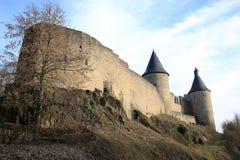 Castillo histórico Bourscheid en Luxemburgo Imagen de archivo libre de regalías