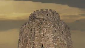Castillo histórico con gran puesta del sol Imagen de archivo libre de regalías
