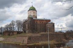 Castillo increíble de Viborg en primavera imagen de archivo
