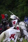 Castillo jousting Inglaterra Reino Unido del warwick de los caballeros Foto de archivo libre de regalías