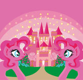 Castillo lindo del arco iris de los unicornios y de la princesa del hada-cuento stock de ilustración