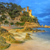 Castillo, Lloret De marcha, costa Brava, España fotografía de archivo