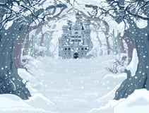Castillo mágico del invierno stock de ilustración