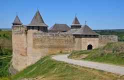 Castillo medieval de la fortaleza de Khotyn, Ucrania Foto de archivo