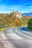 Castillo medieval en el lago Bled en Eslovenia fotografía de archivo libre de regalías