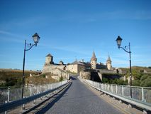 Castillo medieval hermoso en Kamenets-Podolsky foto de archivo libre de regalías