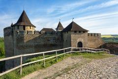 Castillo medieval viejo en Khotyn, Ucrania Foto de archivo libre de regalías