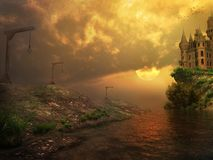 Castillo melancólico en la puesta del sol Fotos de archivo libres de regalías