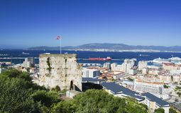 Castillo moro en Gibraltar Foto de archivo libre de regalías