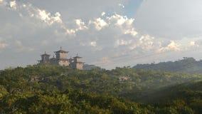 Castillo o templo oriental de la fantasía Foto de archivo