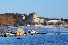 Castillo Olavinlinna en Savonlinna, Finlandia Imagenes de archivo