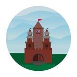 Castillo plano, una fortaleza contra el contexto de las colinas Fotografía de archivo libre de regalías