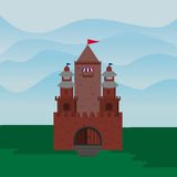 Castillo plano, una fortaleza contra el contexto de las colinas Fotografía de archivo