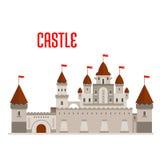 Castillo real con las torres y las paredes de cortina Imágenes de archivo libres de regalías