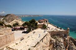 Castillo Santa Barbara en Alicante, España Foto de archivo