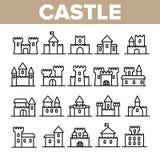 Castillo, sistema linear de los iconos del vector de los edificios medievales stock de ilustración