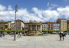 Castillo square, Pamplona Spain royalty free stock photos