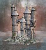 Castillo viejo de la fantasía en un lago