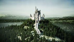 Castillo viejo del cuento de hadas en la colina Silueta del hombre de negocios Cowering Animación realista 4K libre illustration