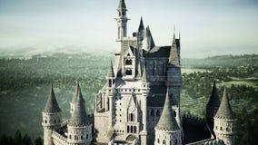 Castillo viejo del cuento de hadas en la colina Silueta del hombre de negocios Cowering Animación realista 4K