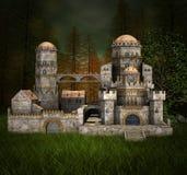 Castillo viejo en el bosque de los abetos stock de ilustración