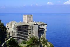Castillo viejo en el montaje Athos Foto de archivo