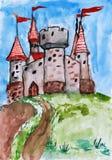 Castillo viejo, torre con la bandera, ciudadela medieval, acuarela del dibujo del niño en el papel, imagen dibujada mano del arte libre illustration