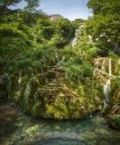 Castillo. View to the waterfall of Orbaneja del Castillo, Burgos, Spain Royalty Free Stock Photos