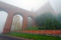 Castillo y catedral de Kwidzyn en niebla Imágenes de archivo libres de regalías