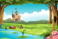 Castillo y charca stock de ilustración