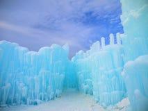 Castillo y cielo del hielo en New Hampshire Foto de archivo libre de regalías