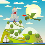 Castillo y dragón ilustración del vector