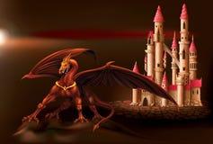 Castillo y dragón de la fantasía