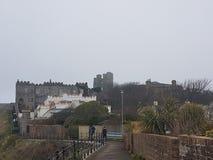 Castillo y edificios de Scarborough foto de archivo