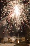 Castillo y fuego artificial Imagen de archivo libre de regalías