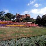 Castillo y jardines, Reino Unido de Tamworth fotografía de archivo libre de regalías