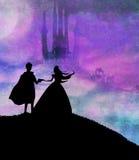Castillo y princesa mágicos con el príncipe Fotografía de archivo libre de regalías
